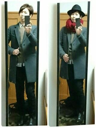 まっきーさんの「MEN エクストラファインメリノVネックセーター(長袖)(ユニクロ|ユニクロ)」を使ったコーディネート