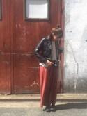 tubomiさんの「【reca大人気アイテム】ライダースジャケット(reca|レカ)」を使ったコーディネート