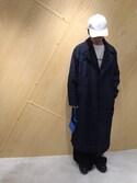fujisakiさんの「STRIPE QUILTED OVERSIZED DOUBLE BREASTED PEACOAT(DRESSEDUNDRESSED ドレスドアンドレスド)」を使ったコーディネート