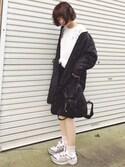 「Prada Vela Small Nylon Backpack, Black (Nero)(Prada)」 using this みやこ ♔ looks