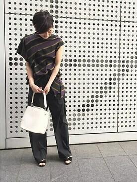 journal standard luxe 渋谷店|S・Fさんのシャツ/ブラウス「【08 SIRCUS/08サーカス】ストライプアシンメトリースリーブトップ#(08sircus|ゼロエイトサーカス)」を使ったコーディネート