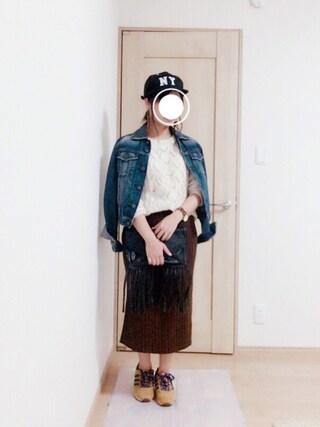harumioさんの「ワイドリブニットタイトスリットスカート(titivate|ティティベイト)」を使ったコーディネート