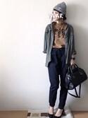 hi.sa☺︎さんの「BOX LOGO Tシャツ(MURUA|ムルーア)」を使ったコーディネート