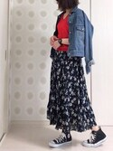 Ⓜ︎.iさんの「花柄ロングフレアースカート(r.p.s|アールピーエス)」を使ったコーディネート