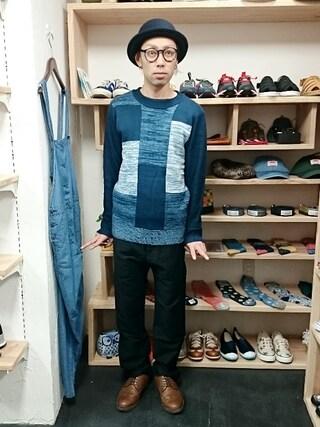 OWL yusuke さんの「Revo パッチワーク風 クルーネックニット(ユニセックス)(STORES.jp ストアーズドットジェーピー)」を使ったコーディネート