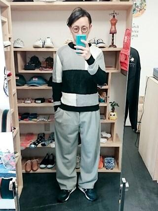 OWL|yusuke さんの「LiSS リス switch panel color crewneck  Knit (ユニセックス)(LiSS|リス)」を使ったコーディネート