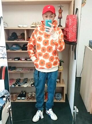 OWL|yusuke さんの「go slow caravan ゴースローキャラバン USコットン ハナガラプルパーカー(go slow caravan|ゴースローキャラバン)」を使ったコーディネート