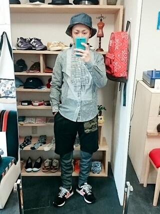 OWL|yusuke さんの「ANDRAEANUM アンドレアナム バンダナ×デニム リバーシブル バケットハット(ユニセックス)(STORES.jp|ストアーズドットジェーピー)」を使ったコーディネート