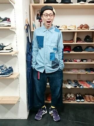 OWL|yusuke さんの「6.5ozデニムリペアRGシャツ(メンズ)(STORES.jp|ストアーズドットジェーピー)」を使ったコーディネート