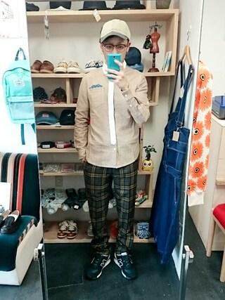 OWL|yusuke さんの「起毛チェックパンツ (メンズ)(STORES.jp|ストアーズドットジェーピー)」を使ったコーディネート