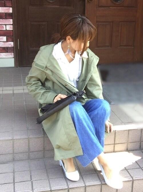 akanenさんの「コットンデニムワイドパンツ(AZUL by moussy)」を使ったコーディネート