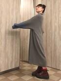 KEIさんの「<高橋愛さんコラボ>ラブ&ピースプロジェクト 配色遣いのタートルリブニットワンピース(haco!|ハコ)」を使ったコーディネート