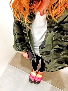 m a iさんの「カモフラドルマンシャツ(GYDA|ジェイダ)」を使ったコーディネート