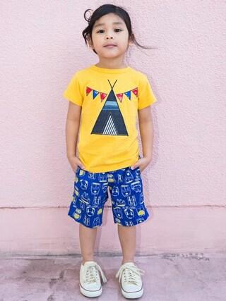 F.O.Online Store F.O.OnlineStoreさんの「ネット限定デニムパッチワークTシャツ(BREEZE ブリーズ)」を使ったコーディネート