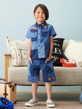 F.O.Online Store|F.O.OnlineStoreさんの「リメイクパッチワークシャツ(F.O.KIDS|エフオーキッズ)」を使ったコーディネート