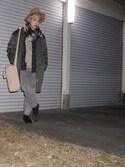 """河崎良侑(りょう) is wearing SENSE OF PLACE by URBAN RESEARCH """"ロングブリムフェルトハット"""""""