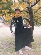 おやすみ代々木公園で撮影しました!(私はヘアメイクした人)もでるさんがとってくれた!きもちわるいかお!ミモザって可愛い〜〜��2つ前に着ていたワンピースの裏表を逆にしてきてみた!