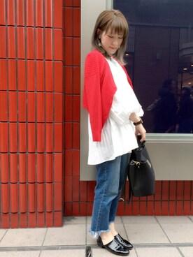 mysty woman ヘップファイブ店|ぴよさんの「4者混ワイドリブニットオフショルVネックカーディガン(mysty woman|ミスティウーマン)」を使ったコーディネート