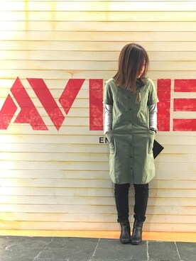 AVIREX 西宮|akaneさんのシャツワンピース「「InRed5月号掲載 女優の上戸彩さん着用商品」/ FUDGE5月号掲載商品/ avirex/ アヴィレックス/ S/S STRETCH SIDE POCKETS SH/ONE PIECE/ ストレッチ サイドポケット シャツワンピース(AVIREX|アヴィレックス)」を使ったコーディネート