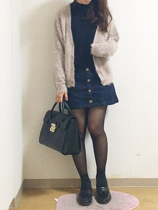 nana♡さんの「button up denim mini SK(MOUSSY|マウジー)」を使ったコーディネート
