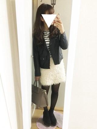 nana♡さんの「フェイクレザーライダースジャケット(archives|アルシーヴ)」を使ったコーディネート