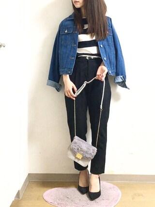 nana♡さんの「12ozスラブデニムレギュラーGジャン(mysty woman|ミスティウーマン)」を使ったコーディネート