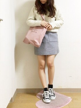 nana♡さんの「REEFUR ロゴ キャンバス トート バッグ(MAISON DE REEFUR|メゾンドリーファー)」を使ったコーディネート