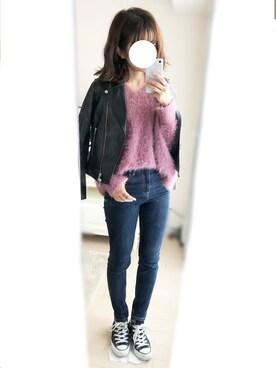 nana♡さんの「◆KC SHEEPレザー ライダースジャケット(green label relaxing)」を使ったコーディネート