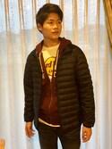 Yamauchi Taketo さんの「ウルトラライトダウンジャケット(ユニクロ|ハードロックカフェ)」を使ったコーディネート