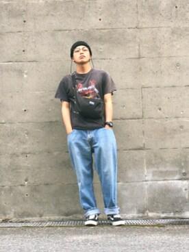 kuwaさんの「METALLICA PUPPEST バンドTシャツ(METALLICA)」を使ったコーディネート