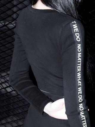 mixxmix|mixxmixさんの「クロップド丈レタリングTシャツ」を使ったコーディネート