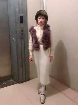 bibiさんの「アンゴラペンシルスカート(lilLilly|リルリリー)」を使ったコーディネート
