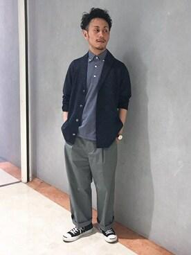TAKEO KIKUCHI 名古屋パルコ店|大場 貴友さんの「ショールカラーカノコ編みカーディガン(TAKEO KIKUCHI)」を使ったコーディネート