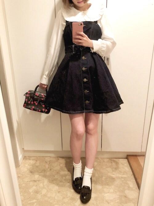 ayumi watanabeさんの「Love me denim one-piece dress(RoseMarie seoir)」を使ったコーディネート