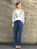 kawanishiさんの「バードマルチ刺繍トップ(GRACE CONTINENTAL|グレースコンチネンタル)」を使ったコーディネート