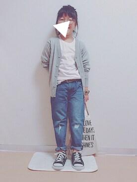 ゆんさんの「ロング丈長袖Tシャツ(BRANSHES|ブランシェス)」を使ったコーディネート