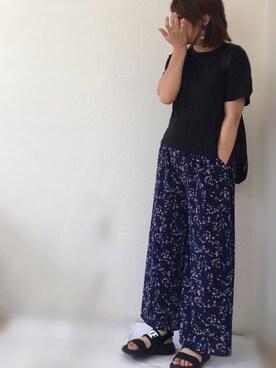 Ayako  さんの「【2016Spring】ドロップショルダーポケットTシャツ(earth music&ecology アースミュージックアンドエコロジー)」を使ったコーディネート