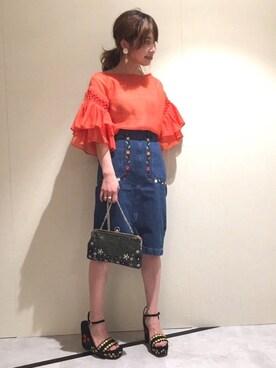 Lily Brown eiko inagakiさんの「メキシコ刺繍デニムスカート(Lily Brown)」を使ったコーディネート