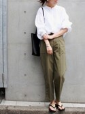 FRAMeWORK  tomoさんの「≪予約≫【金子綾×FRAMeWORK】センタープレス ベイカーパンツ◆(FRAMeWORK|フレームワーク)」を使ったコーディネート