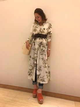RANDA 本社|yuka.abeさんの「【足にフィットするよう履き心地を追求】コルクウェッジサンダル(RANDA|ランダ)」を使ったコーディネート