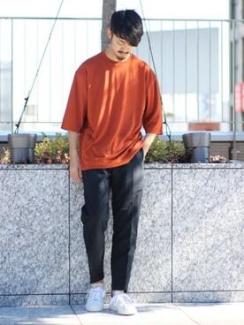 417 by EDIFICE渋谷店 EDIFICE/LA BOUCLEスタッフさんのTシャツ/カットソー「《予約》DESCENTE / デサント PAUSE 別注  ゼロシーム7分丈BIG TEE(DESCENTE デサント)」を使ったコーディネート