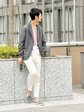 417 by EDIFICE渋谷店 EDIFICE/LA BOUCLEスタッフさんのカーディガン「◇RAMIE KNITジャケット カーディガン(EDIFICE エディフィス)」を使ったコーディネート