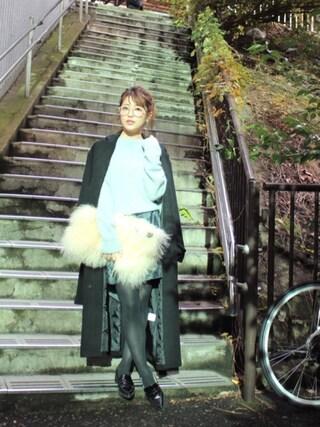 舟山久美子♡くみっきーさんの「バックチュールニットワンピース(MICOAMERI ミコアメリ)」を使ったコーディネート