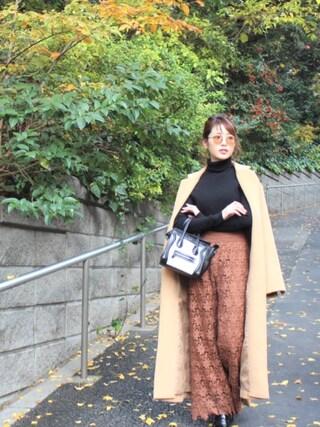 舟山久美子♡くみっきーさんの「ロングガウンコート(MICOAMERI ミコアメリ)」を使ったコーディネート