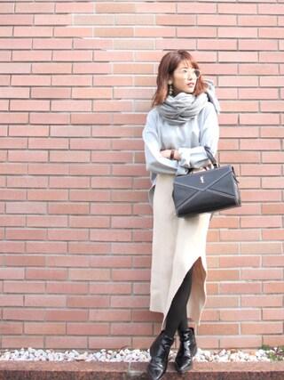 舟山久美子♡くみっきーさんの「ルーズシルエットバックチュールtee(MICOAMERI|ミコアメリ)」を使ったコーディネート