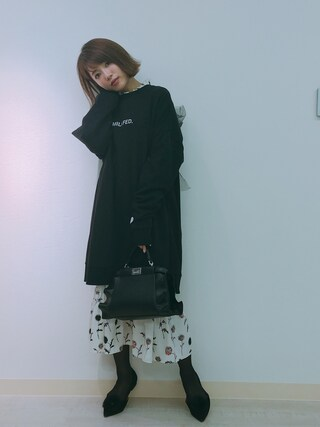 「フラワーパターンワンピース(MICOAMERI)」 using this 舟山久美子♡くみっきー looks