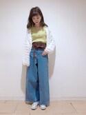 Rikako   Saitoさんの「刺繍デニムワイドパンツ(one after another NICE CLAUP ワンアフター アナザー ナイスクラップ)」を使ったコーディネート