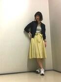YUMIさんの「リボン付ストライプギャザースカート(ViS|ビス)」を使ったコーディネート
