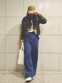 Ayumi NewAgeさんの「8OZデニムワイドパンツ【niko and...】(niko and...|ニコアンド)」を使ったコーディネート