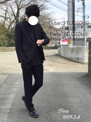 「STUDIOUS マルチストレッチキューダステーラードジャケット(STUDIOUS)」 using this にっしー looks